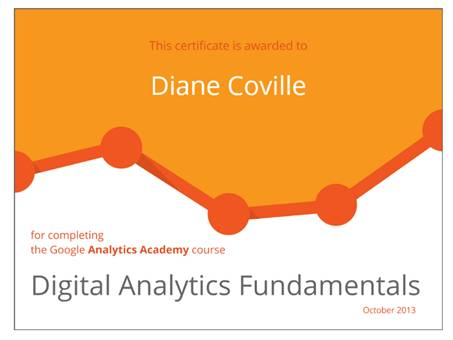 Digital Analytics Fundamentals Certificate of Completion